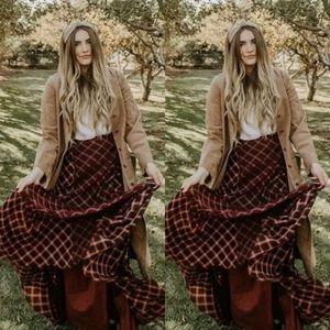 NEW Free People Prairie Dreams Plaid Maxi Skirt